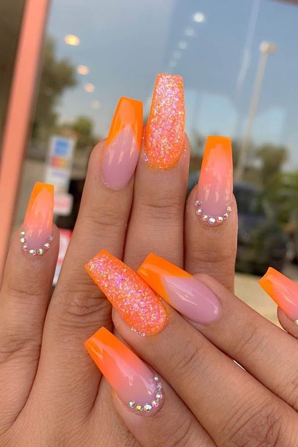 43 Nail Designs And Ideas For Coffin Acrylic Nails Page 2 Of 4 Stayglam Orange Acrylic Nails Neon Orange Nails Orange Nail Designs