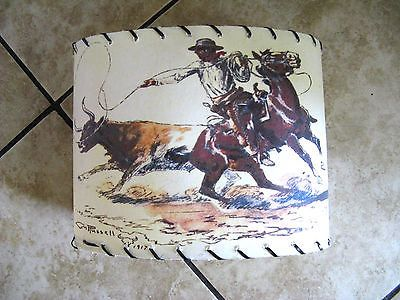 Vintage 1950s Cowboy Lamp Shade C M Russell 1917 Prints