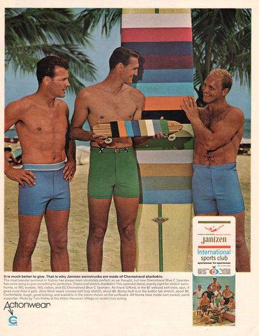 1966 Jantzen Men's Swimtrunks print ad swim suit Hobie by Vividiom, $9.00