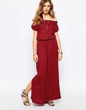 First & I - Maxi robe style 70's à épaules dénudées