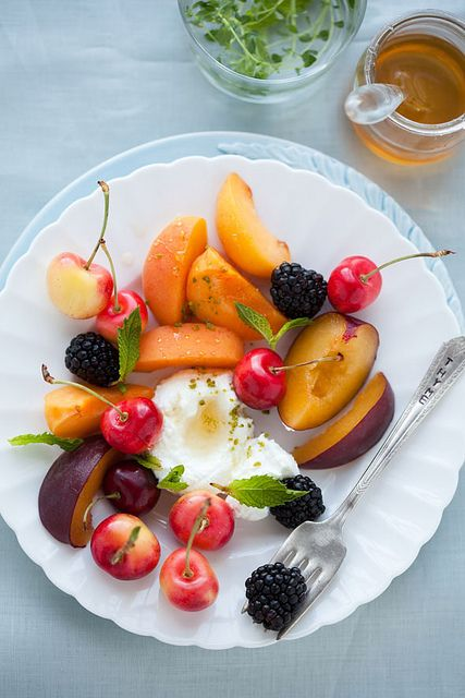 stone fruit salad with strained yogurt and honey    simple food in the afternoon.