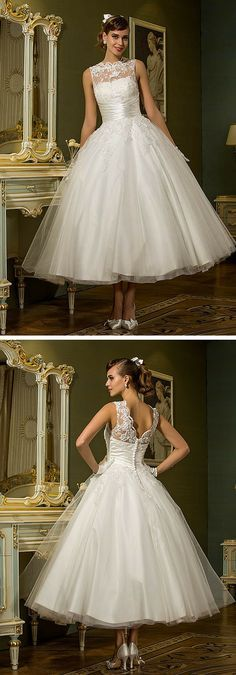 A vintage-inspired lace and tulle tea length wedding dress! Such a ladylike choice. It comes in white, ivory, champagne and blushing pink and can be made to your custom measurements. This adorable and affordable wedding dress has amazing reviews, too!