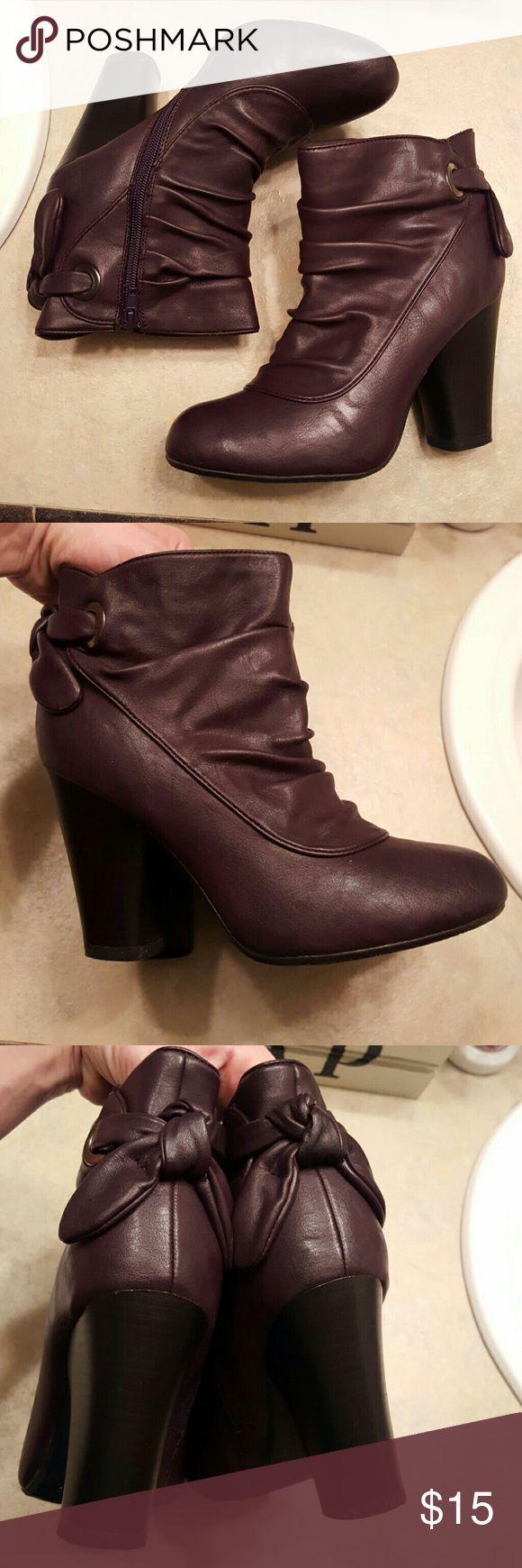 Dark Purple Booties! Like New- Size 8 - Dark Purple Ankle Booties - Inside Zip X.Appeal Shoes Ankle Boots & Booties