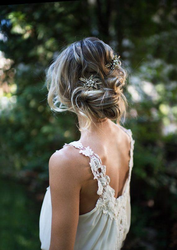 vintage style antique gold hair clip for wedding hair wedding hair ideas courtesy of