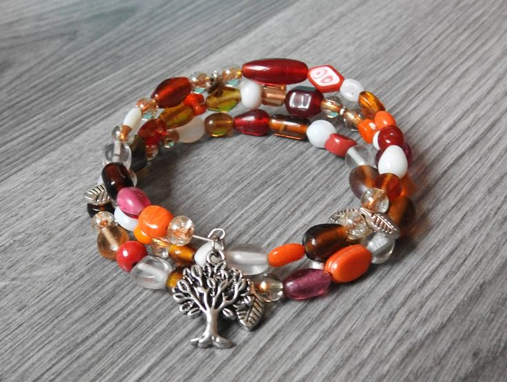 Autumn Tree of Life Memory Bracelet - Autumn Jewelry - Autumn and Fall Jewelry - Coil Bracelet - Nature Jewelry - Tree of Life Bracelet by KayBejeweled on Etsy