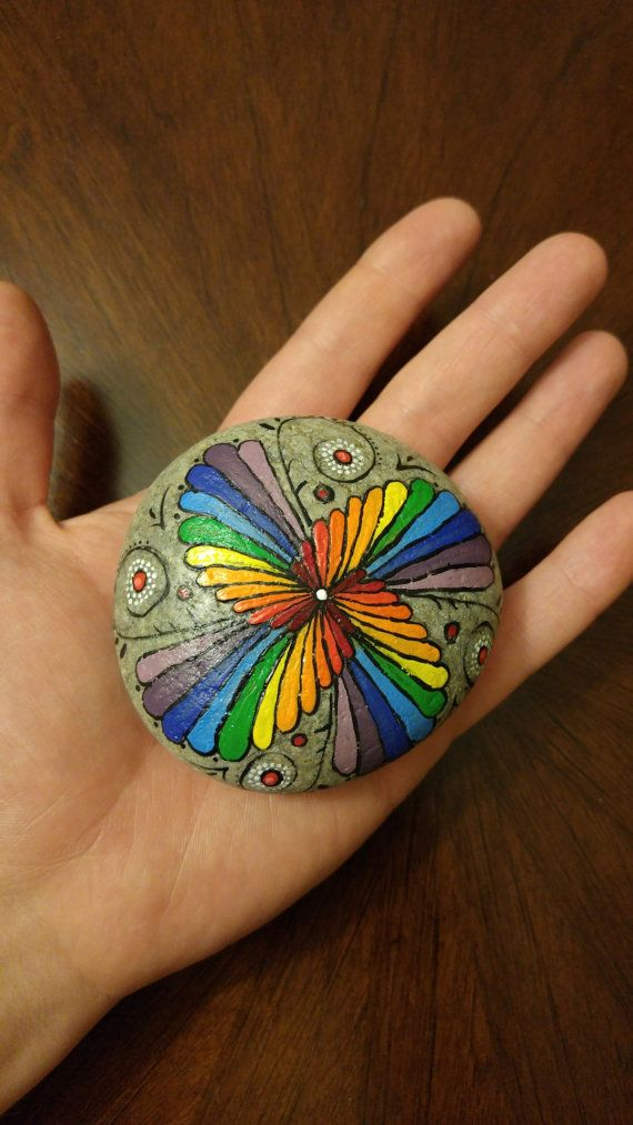 Mandala stone. Meditation stone, gift, paperweight, garden decor