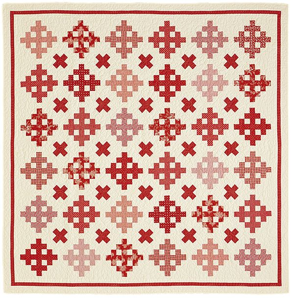 """Cross Reference: Two blocks set on point pull together two colors for a scrappy and scrumptious throw. Finished quilt: 80-3/4"""" square. Finished blocks: 8-1/2"""" square. Designer: Susan Ache."""