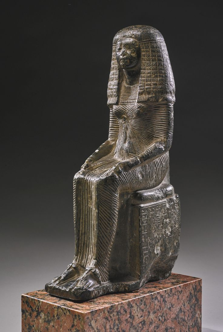 An Egyptian Steatite Figure of the Lady Iset, Chantress of Sobek, 19th Dynasty, Reign of Ramesses I/early in the Reign of Ramesses II, circa 1292-1250 B.C. | lot | Sotheby's: