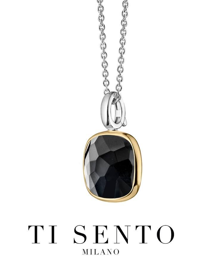 Ti Sento black, gold plated and sterling silver pendant. #LoveTiSento