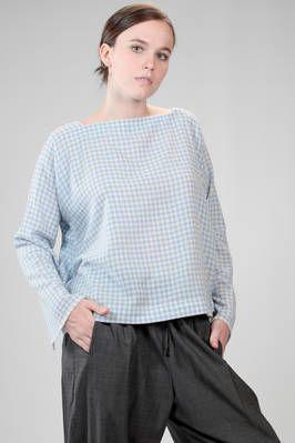 DANIELA GREGIS | hip length sweater in very soft cashmere vichy gauze | #danielagregis