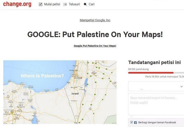 Hapus Nama Palestina Google Map Dipetisi Penduduk Penjuru Dunia  [portalpiyungan.com] Google mendapat kritikan tajam dunia setelah menghapus nama Palestina dari peta Google Maps dan menggantinya dengan Israel. Dalam pernyataan yang dirilis hari Rabu (03/08/2016) Forum Jurnalis Palestina mengatakan keputusan Google tersebut adalah bagian dari skema Israel untuk legitimasi negara zionis tersebut. Keputusan Google menghapus Palestina dari peta adalah bagian dari skema Israel untuk menjadi…