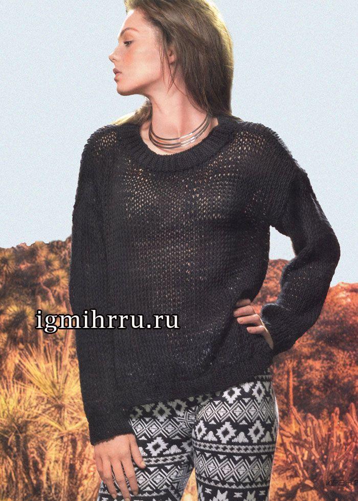 Для любительниц минимализма. Простой черный пуловер на каждый день. Вязание спицами