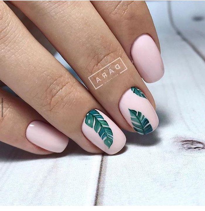 Pink Nail Polish Green Palm Leaves Short Nails Beach Nail Designs White Background Beach Nail Designs Beach Nails Green Nail Designs