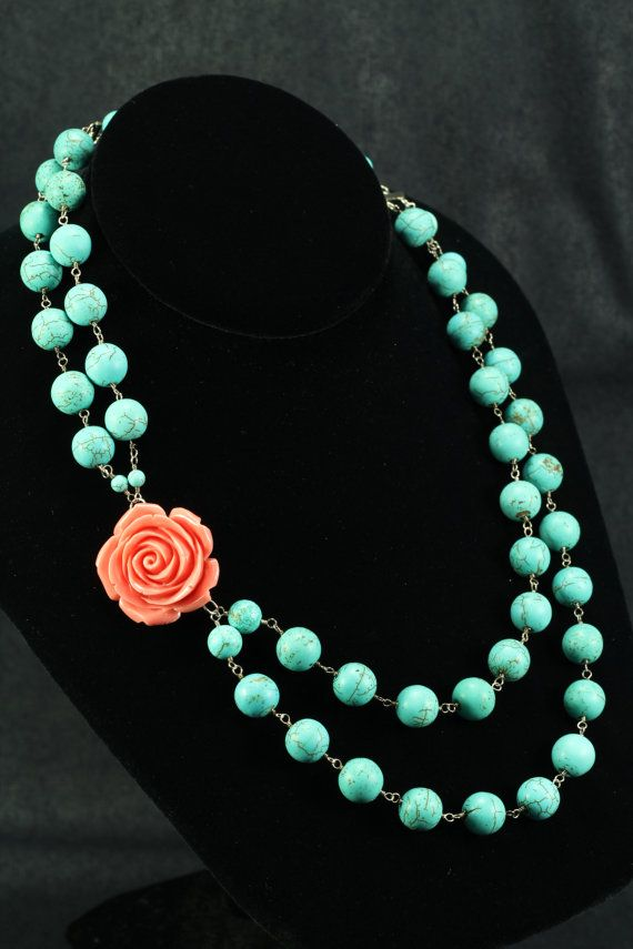 Coral Rose and Turquoise by MakamDesigns on Etsy, $84.00