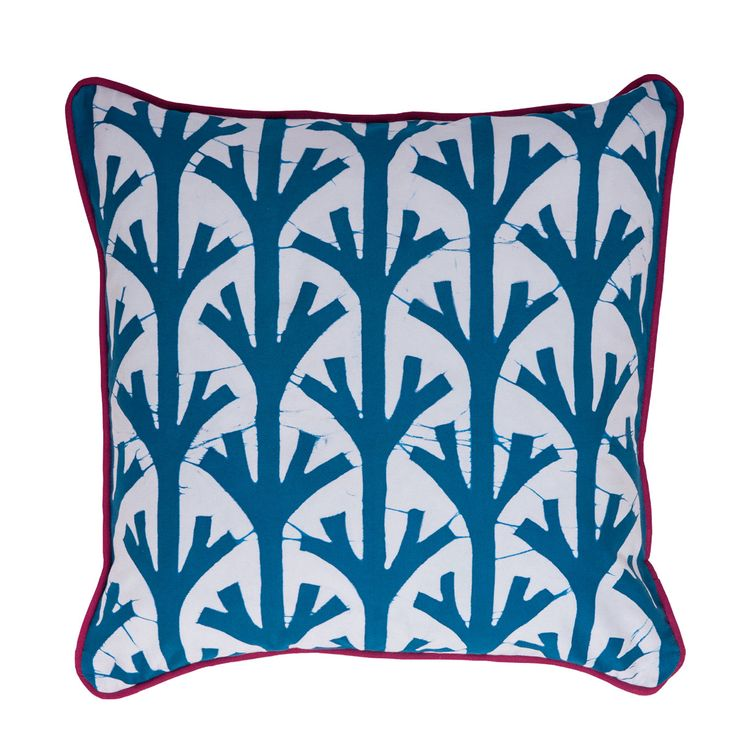 Batik cushion with branch pattern.  Teal colourway with red piping.  100% cotton  100 feather inner