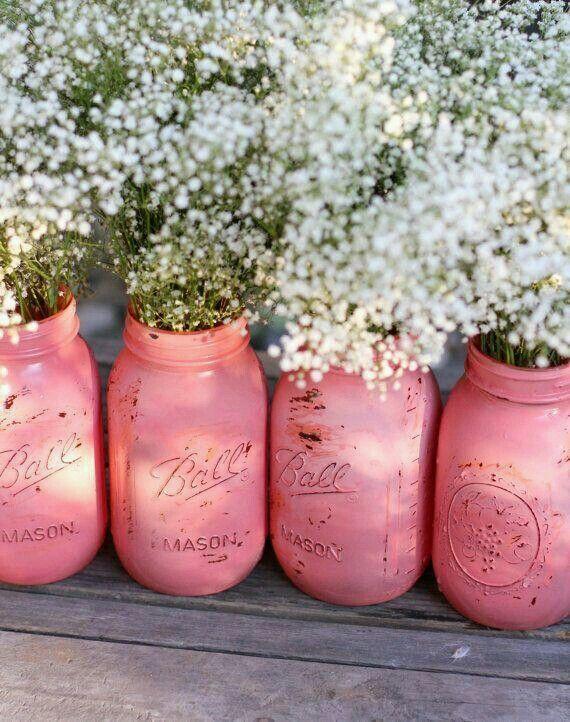 Pretty coral mason jars. DIY inspiration.