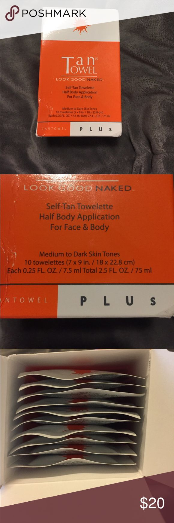 Tan Towel- Medium to Dark Skin Tones NEW! Tan Towel Self Tan Towelettes. Pack of 10 half body application! Has not been used- the box is a little damaged on the outside, but as shown in the pictures all 10 are inside the box! Tan Towel Makeup