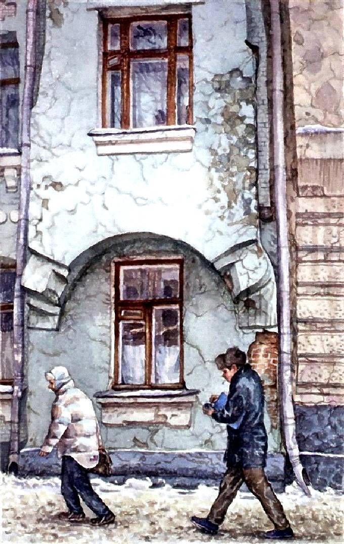 Лялин переулок, холодно. Прогулка по Москве. Картины Алены Дергилевой