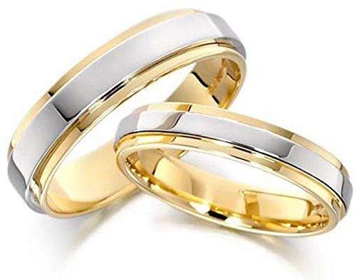 Attractive 14k White and Yellow Gold Couples Wedding Rings 5 Mm 6 Mm *** Want to know more, click on the image.