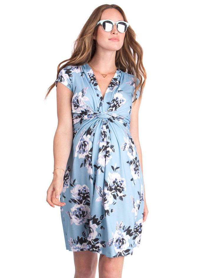 Soft stretch jersey Blue floral print Signature knot front detailing Cap sleeves V neckline In a stylish new floral print, our signature Knotted Maternity Dress offers a fresh look ready for the new season. Elegantly knotted at the empire waist, this feminine style drapes effortlessly over your curves, offering a flexible fit for every stage of pregnancy. Featuring a flattering v neckline, cap sleeves and a stylish floral print, this chic maternity dress will make a wonderful addi...