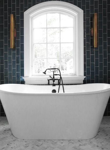 Bathroom with Gray Vertical Subway Tiles, Contemporary, Bathroom bathtub tub #drdbathrooms