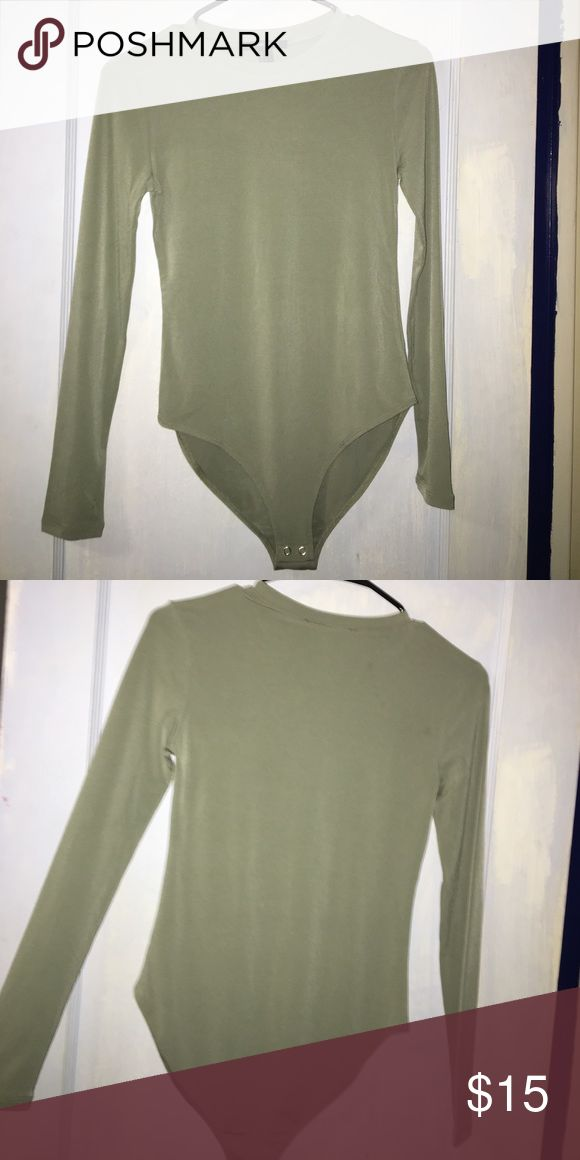 Bodysuit shirt Super cute light green bodysuit ! Never worn , brand new , no trade any questions just ask ! Tops