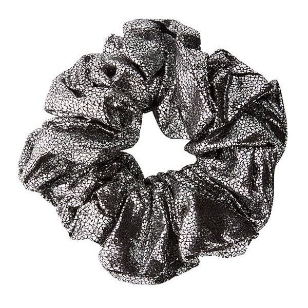 Silver Metallic Oversized Scrunchie (3.37 CAD) ❤ liked on Polyvore featuring accessories, hair accessories, fillers, hair, acc, silver, scrunchie hair accessories and silver hair accessories