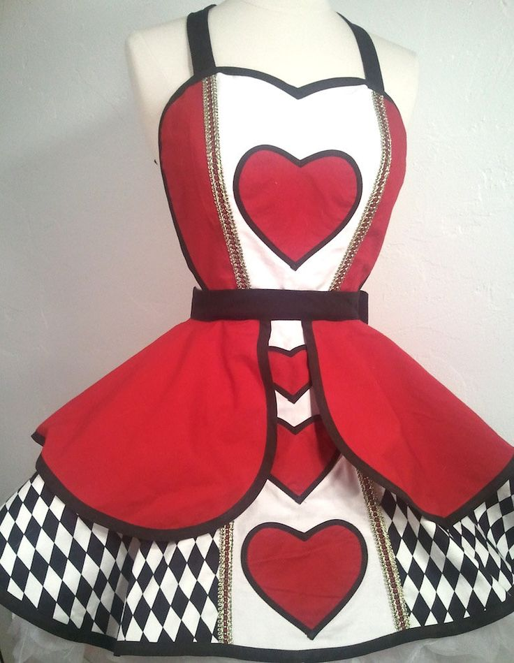 Queen Of Hearts Pin Up Costume Apron by PickedGreen on Etsy, $115.00 ** omg--- so beautiful!! Disney running apron option!