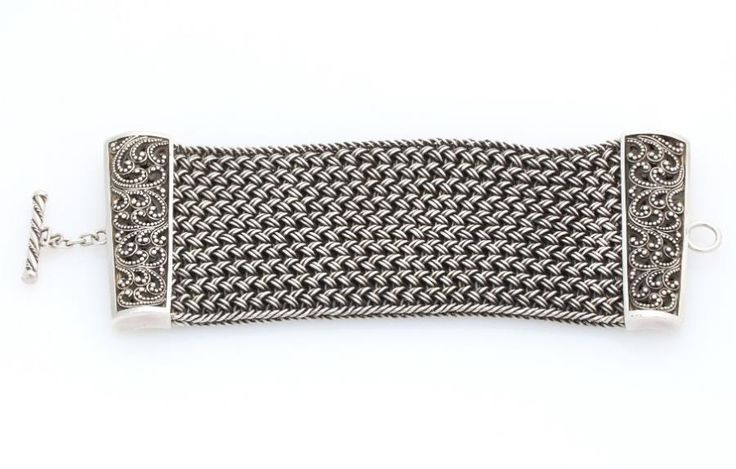 Lois Hill Sterling Silver Textile Weave & Granulated Filigree Toggle Bracelet #LoisHill #Cuff