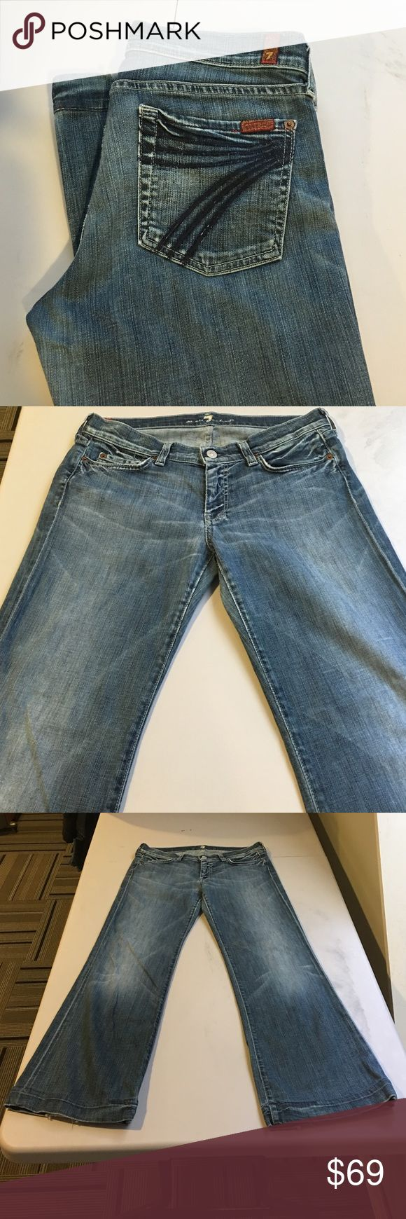 "SEVEN FOR ALL MANKIND DOJO JEANS!! Ok, these definitely have been worn, but they're still in good condition! Bit of wear on the BACKS of the BOTTOMS and some distressed spots. Price reflects this. Dark ""7's"" on back pockets. Size 29. Inseam 29. PRICE FIRM PLEASE 7 for all Mankind Jeans Flare & Wide Leg"