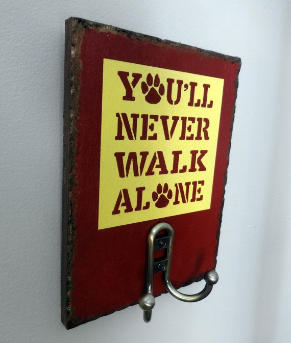 You'll NEVER WALK ALONE wooden painted dog leash holder.  Handmade Gifts on a Budget.