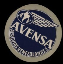 Airline luggage label   Venezuela Avensa #313