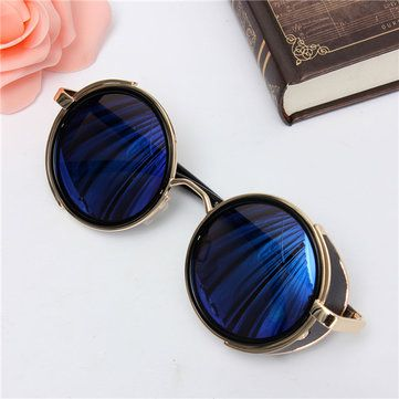 Men Women Steampunk Vintage Round Mirror Lens UV400 Sunglasses