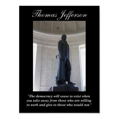 $17.30 Thomas Jefferson Democracy Quote Poster