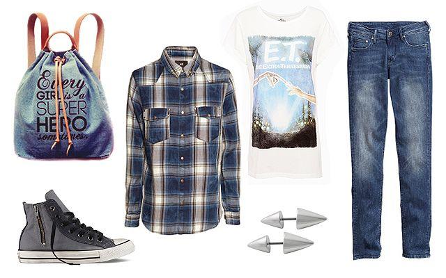 Póló: Pull&Bear, ing, farmer: H&M, hátizsák: KlassDSign, fülbevaló: Bijou Brigitte, cipő: Converse