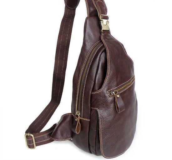 Genuine Leather Unique Mens Sling Backpack Shoulder Messenger Bag 2467 by LeatherBagsDeal on Etsy
