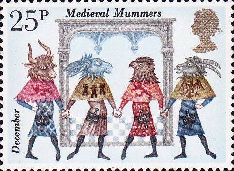 UK Stamp - Medieval Mummers From Folklore via Old Fashioned Holidays