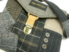 Recycled black gray plaid wool, crafted by Terry Lischka - yum!