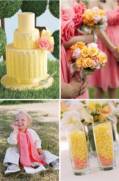 This is the color scheme I am thinking. The dresses will be yellow and the bouquets will be coral though.