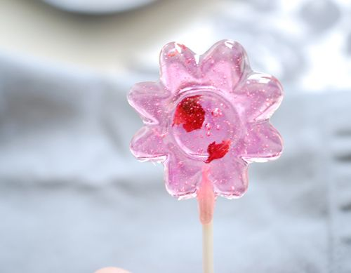 Homemade lollipop. So cute!! I think I would try with the Hibiscus flavor.