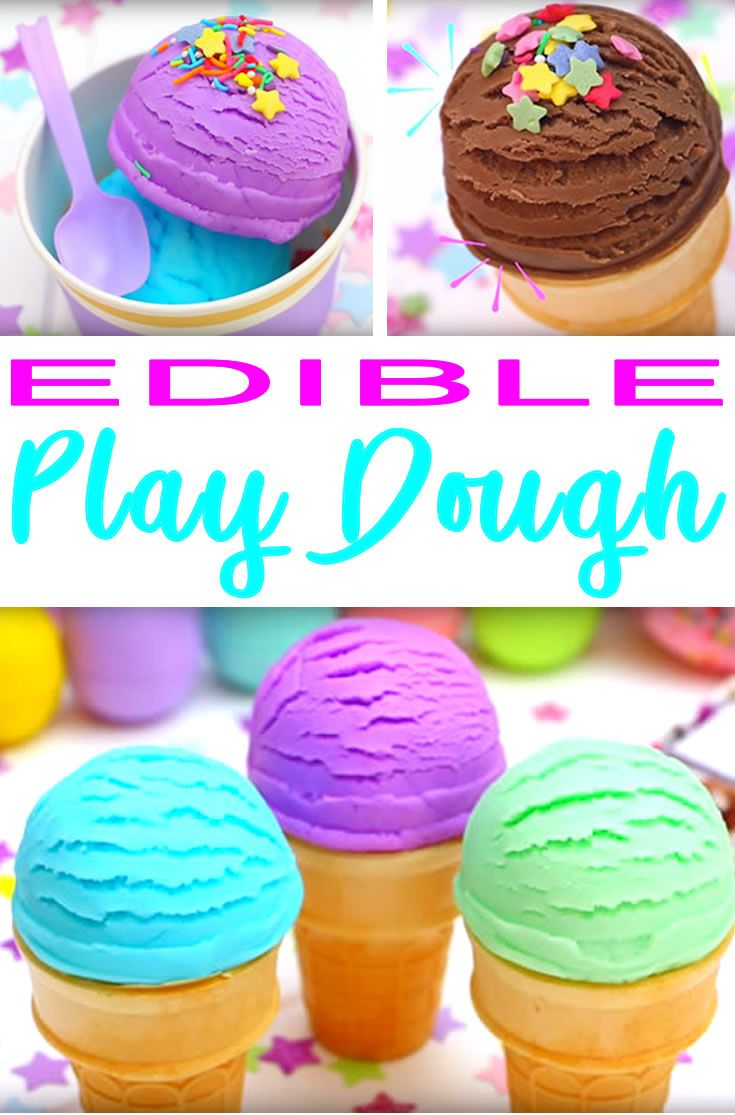 DIY Craft: EDIBLE playdough! 2 Ingredient DIY edible playdough. Easy NO cook recipe for this cool play doh recipe you can make at home in under 5 minutes. This edible ice cream playdough is simple to make and super fun to play with. Great playdough for babies, toddlers. preschool, really kids of any age even teens and tweens. The best DIY crafts and DIY projects!
