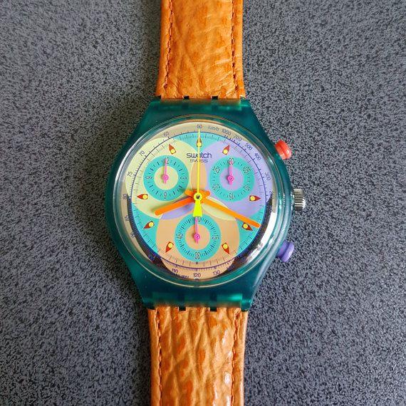 SWATCH Chronograph Date SCL 102 SOUND 1991- 1993 Originals Leder Leather Neu New!
