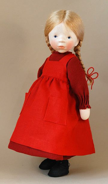 Girl In Red Pinafore H327 by Elisabeth Pongratz at The Toy Shoppe