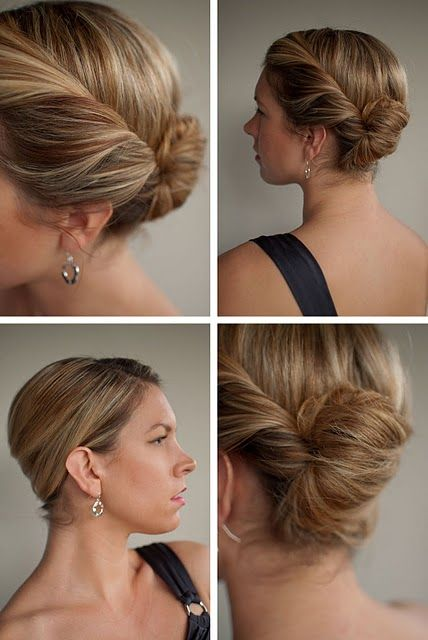 A twist on the classic French roll hairstyle, twisting in from the front and twisting up at the side.