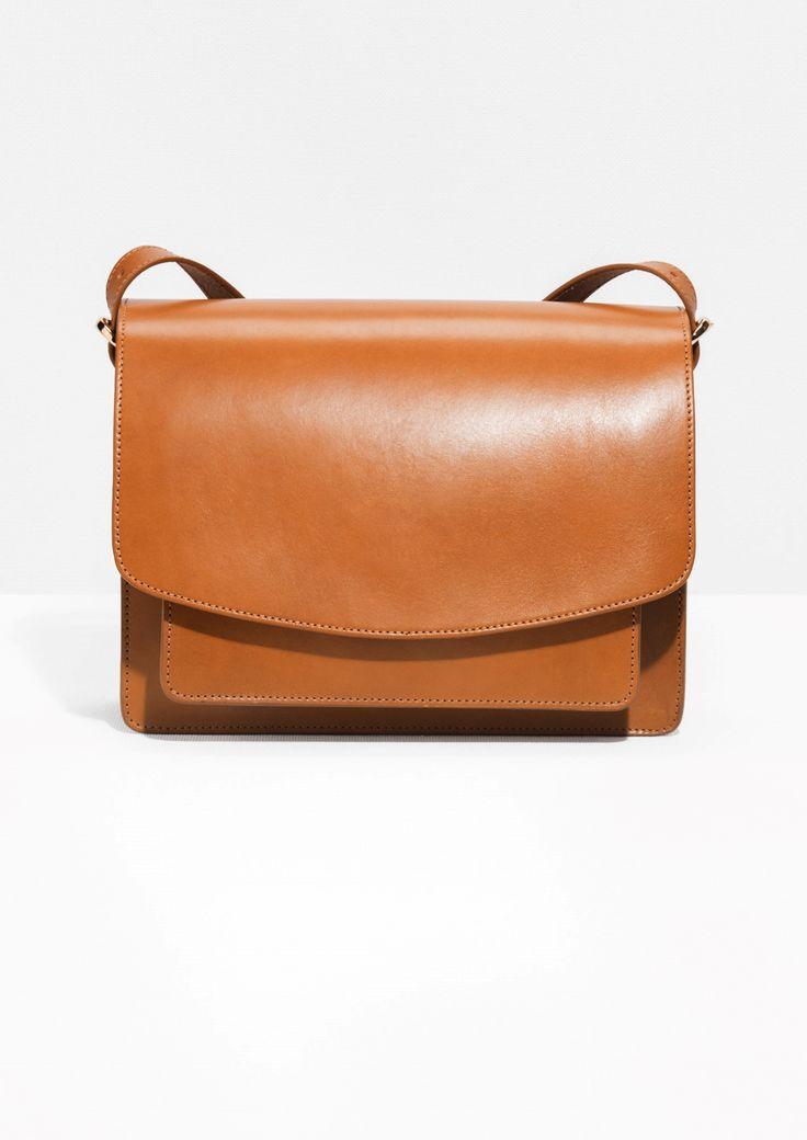 & Other Stories image 1 of Saddle Stitch Leather Shoulder Bag in Cognac