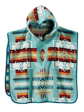 Pendleton Chief Joseph Hooded Kids' Towel- Aqua