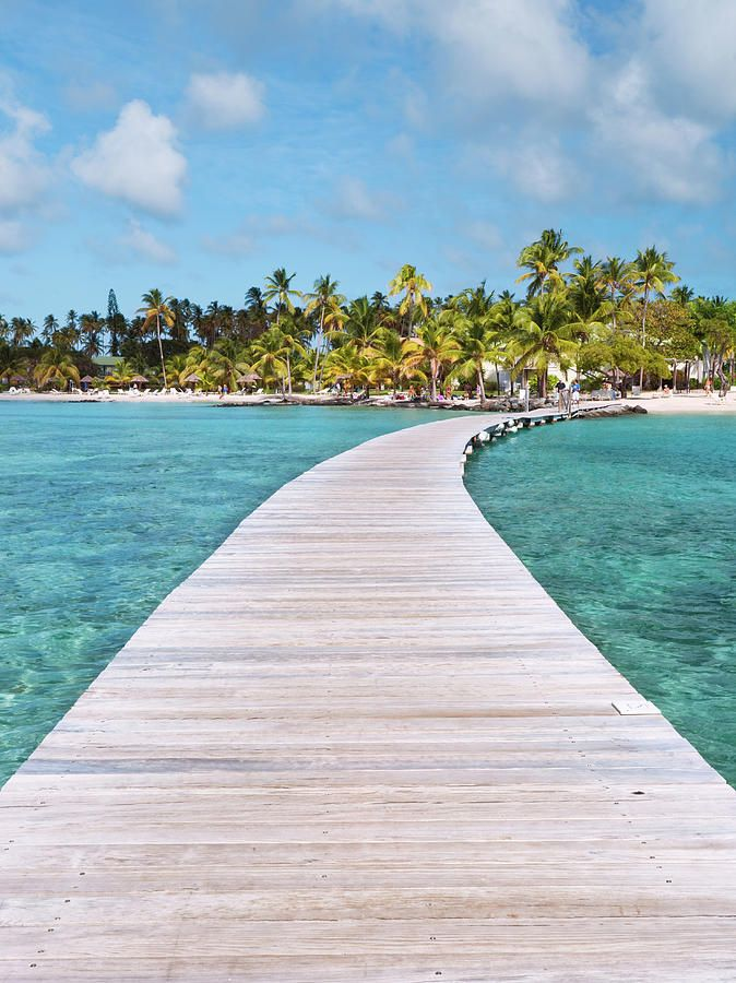 Pier to tropical island, Sainte Anne, Martinique, Caribbean_ France