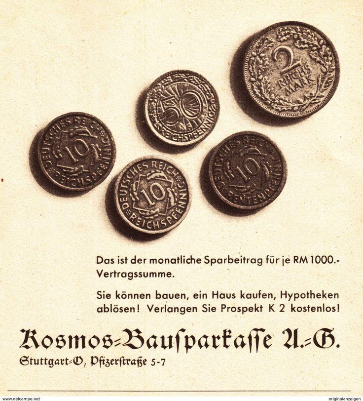 Werbung - Original-Werbung/ Anzeige 1936 - KOSMOS BAUSPARKASSE / MOTIV MÜNZEN - ca. 140 x 150 mm