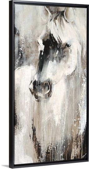 """Edmunds captures the mystical beauty of a wild White horse in this gorgeous Contemporary art piece. """"Prairie III"""" by Sydney Edmunds in a modern Black Floating Frame, from our Premier Contemporary Art Collection. Check it out at GreatBIGCanvas.com."""