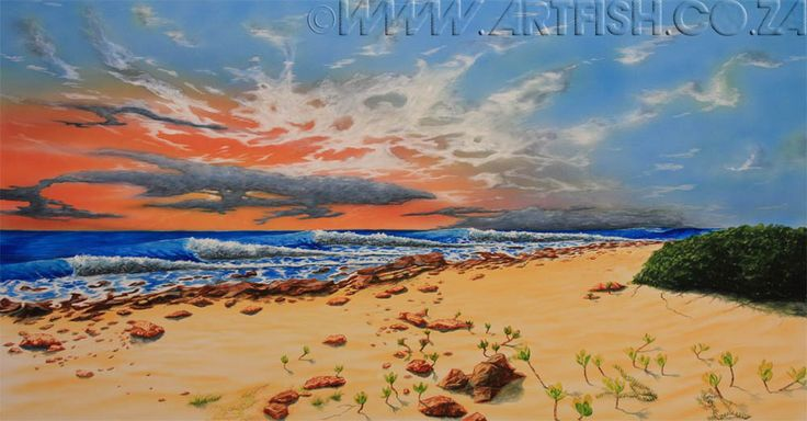 Early Bird. Queensberry Bay ... a jewel of a surfbreak on the East Coast. Original acrylic on canvas. H850 x W1600mm.